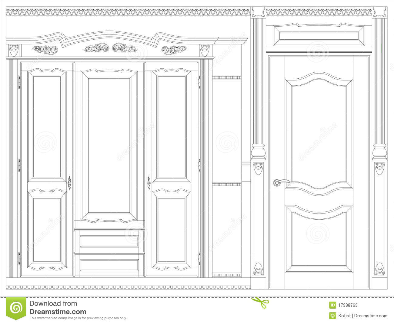 Wood furniture blueprint stock illustration illustration of wood furniture blueprint malvernweather Choice Image