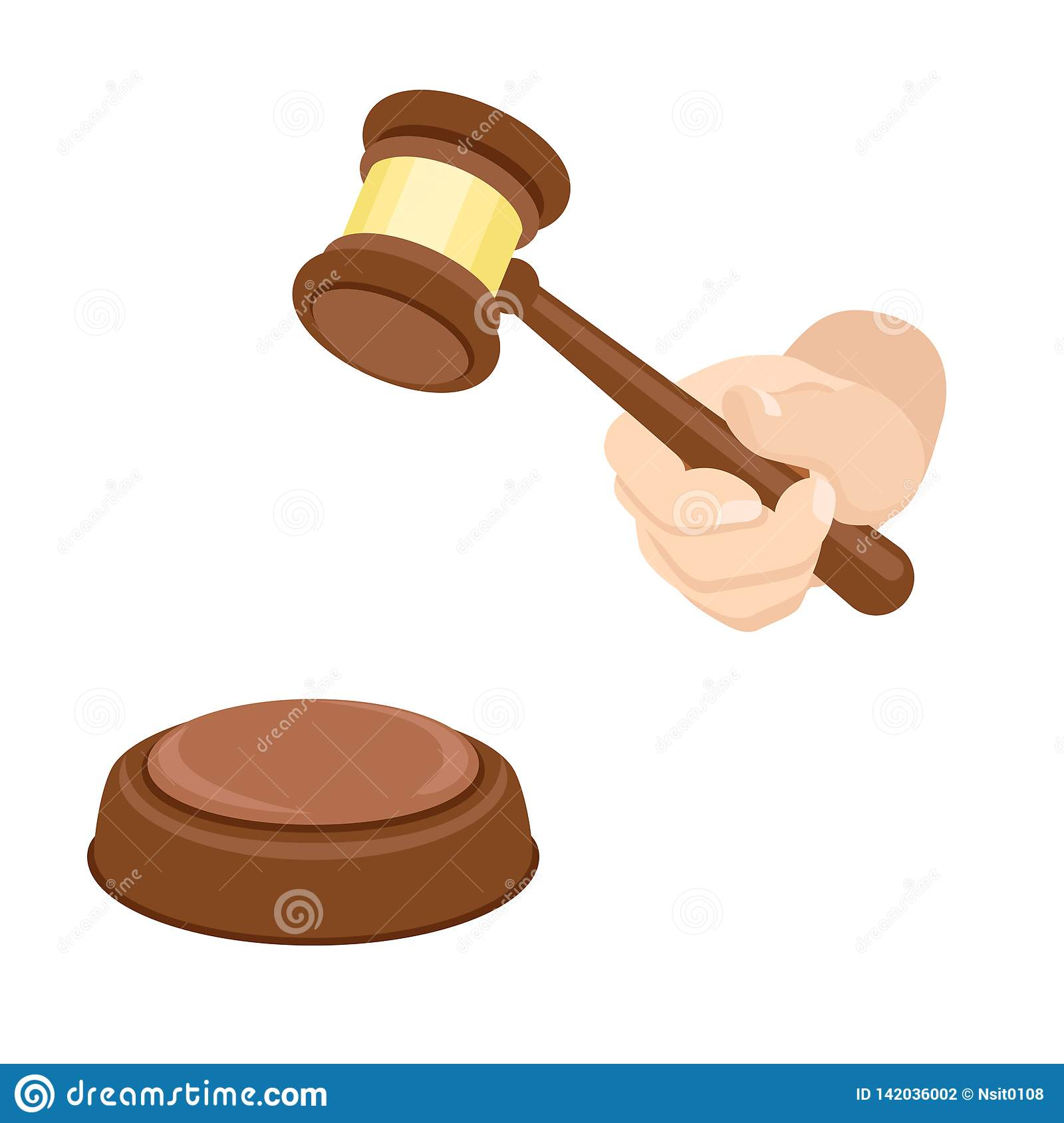 Wood Gavel Icon Flat Style Stock Vector Illustration Of Gavel