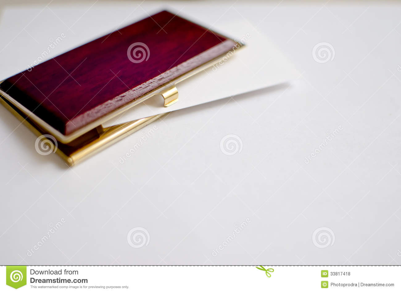 Wood And Gold Business Card Holder Royalty Free Stock