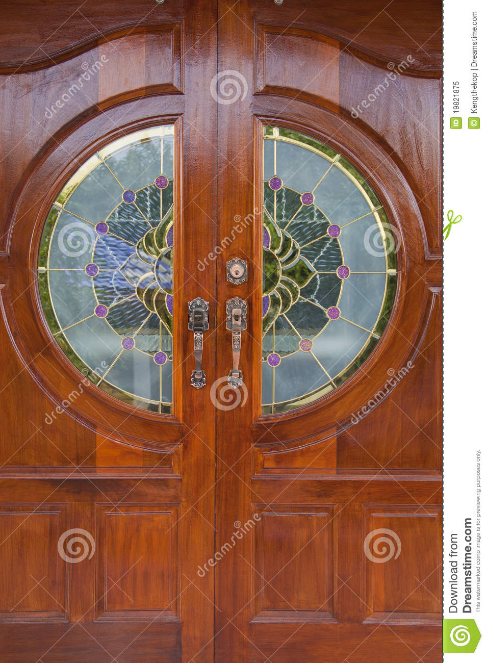 Wood Grain Door Covers The Stained Glass Royalty Free Stock Photo Image 19821875