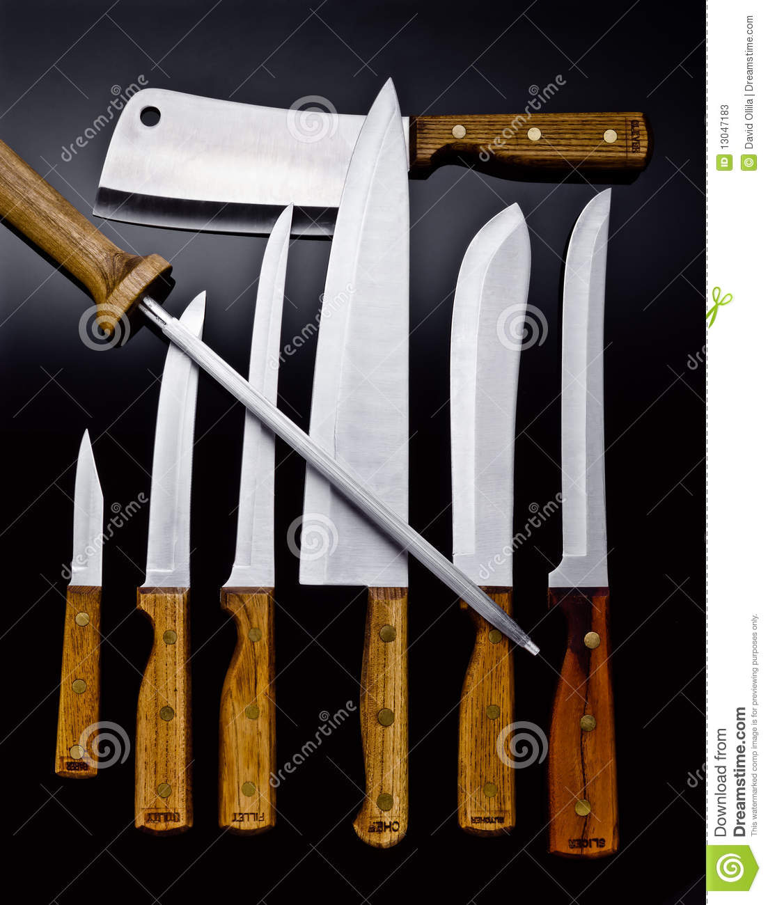 wood handle chef knives and cutlery stock photos image 13047183. Black Bedroom Furniture Sets. Home Design Ideas