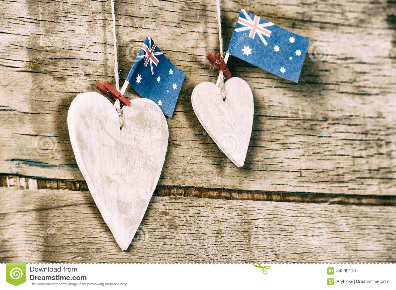 Wood Heart And Australia Flag Stock Photo Image Of Message