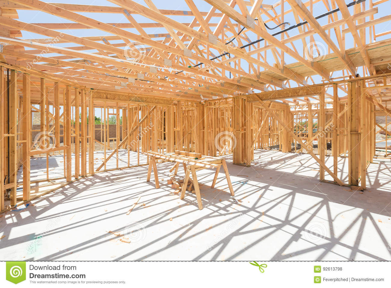 wood home framing abstract at construction site stock photo image
