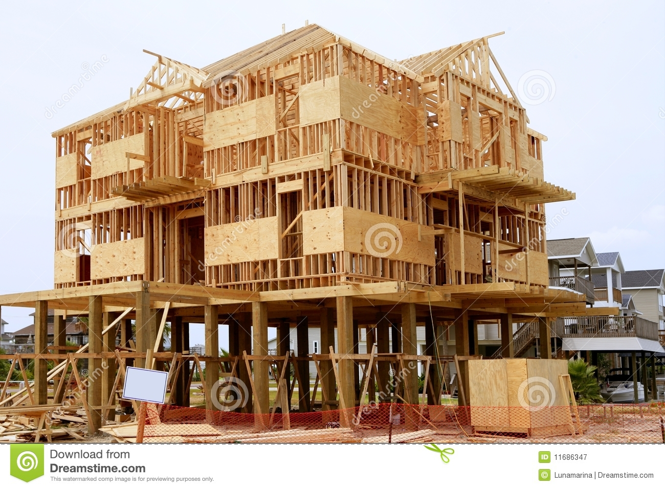 Wood House Contruction, American Wooden Structure Royalty Free Stock ...