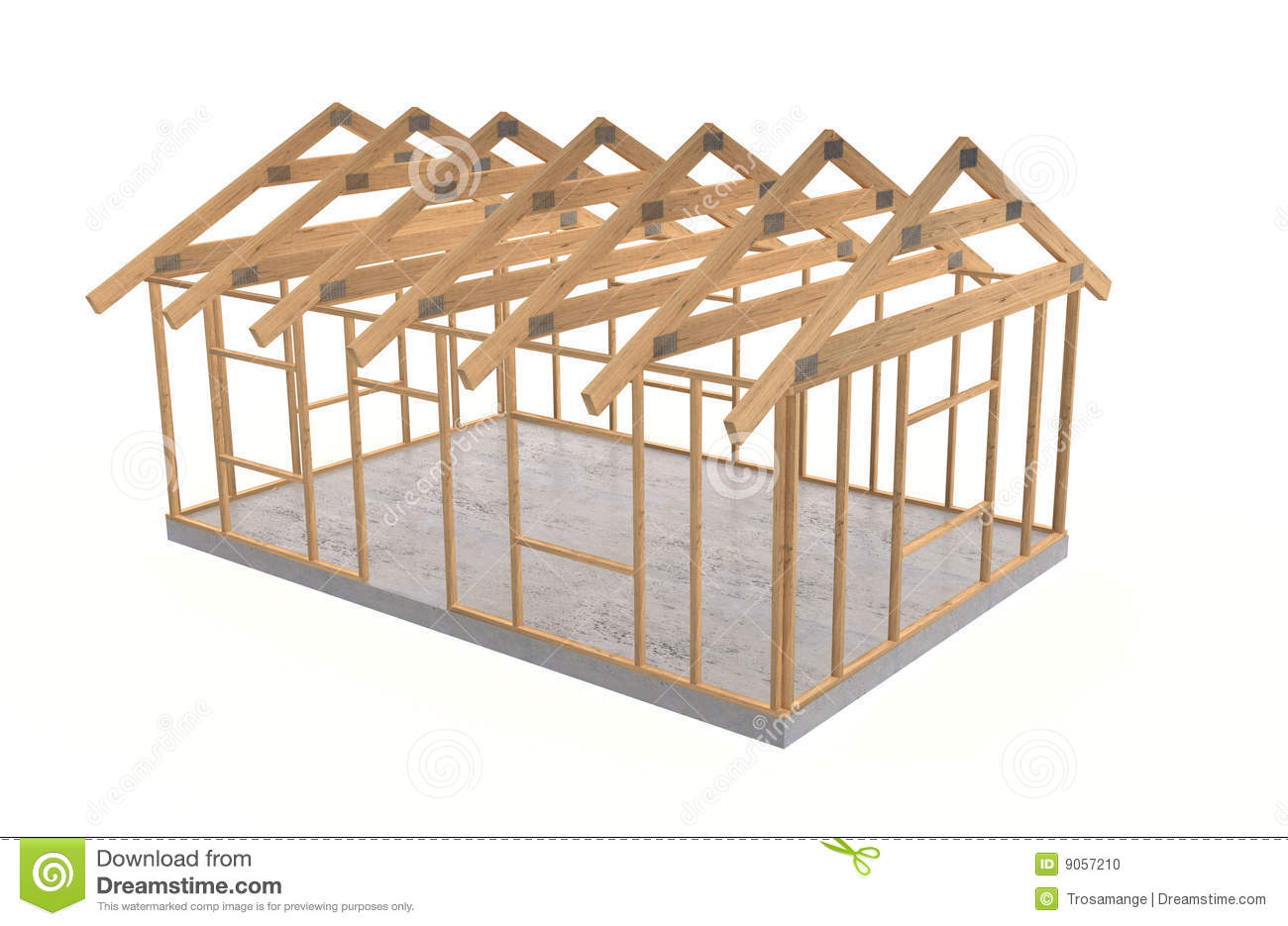 Wood house frame stock photo image of square white for Oak framed house designs