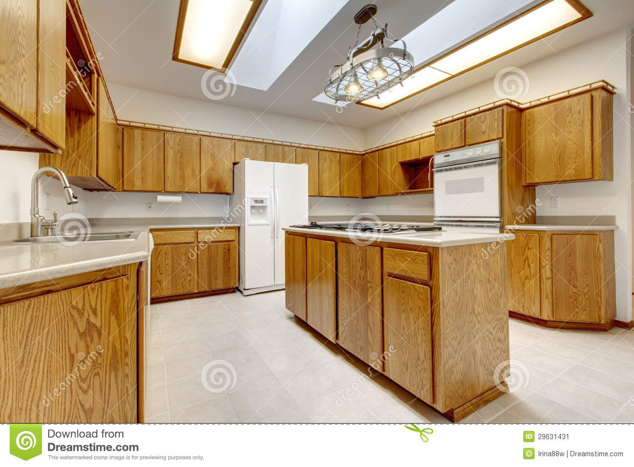 Wood Kitchen With Island Without Windows With Bright Light Stock