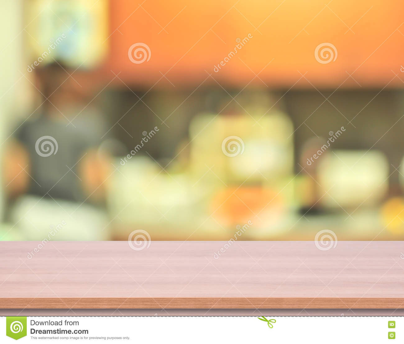 wood kitchen table top with blur kitchen background royalty free stock photo. Interior Design Ideas. Home Design Ideas