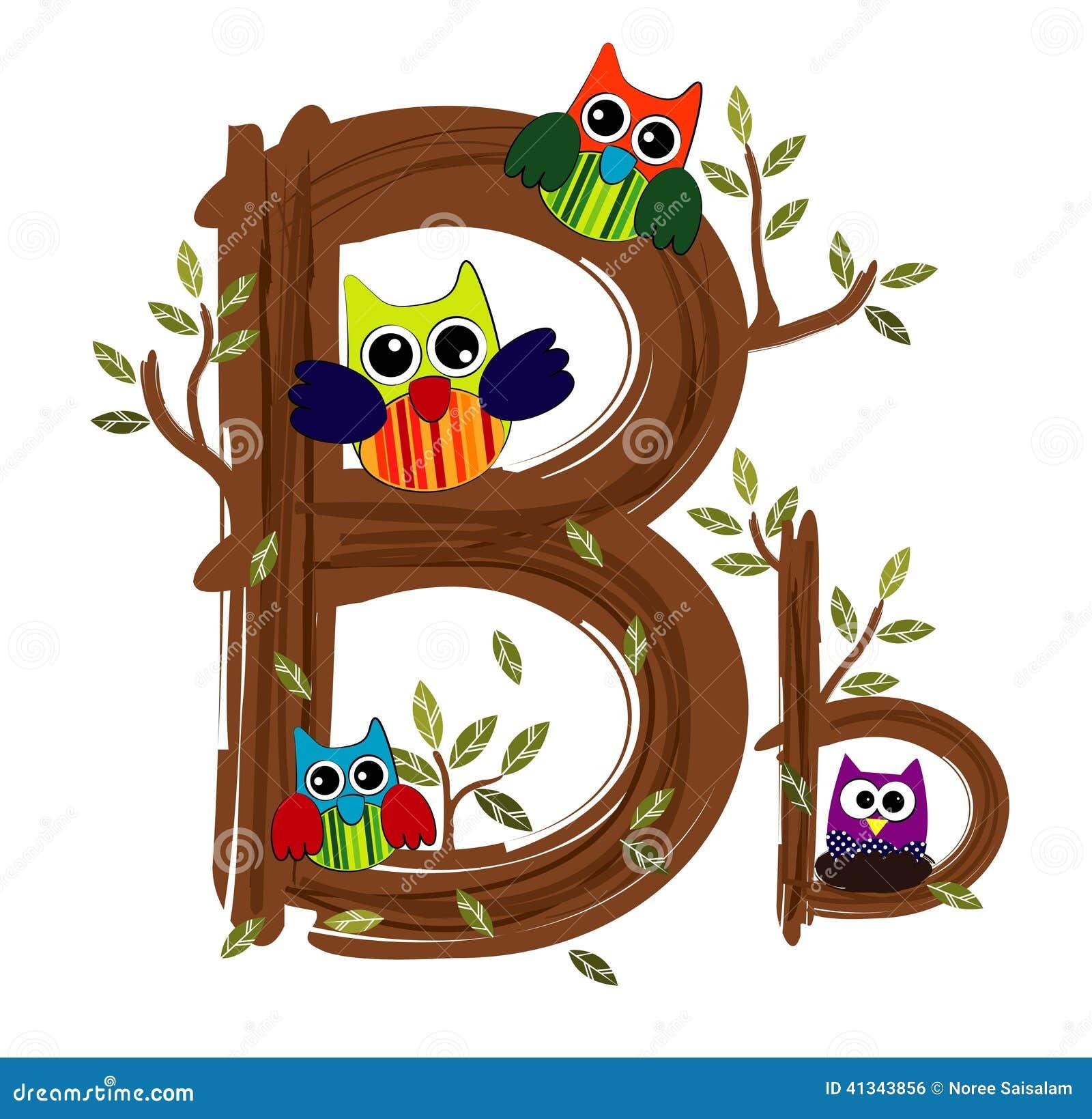 Wood Letter B Owl Vector Stock Vector - Image: 41343856