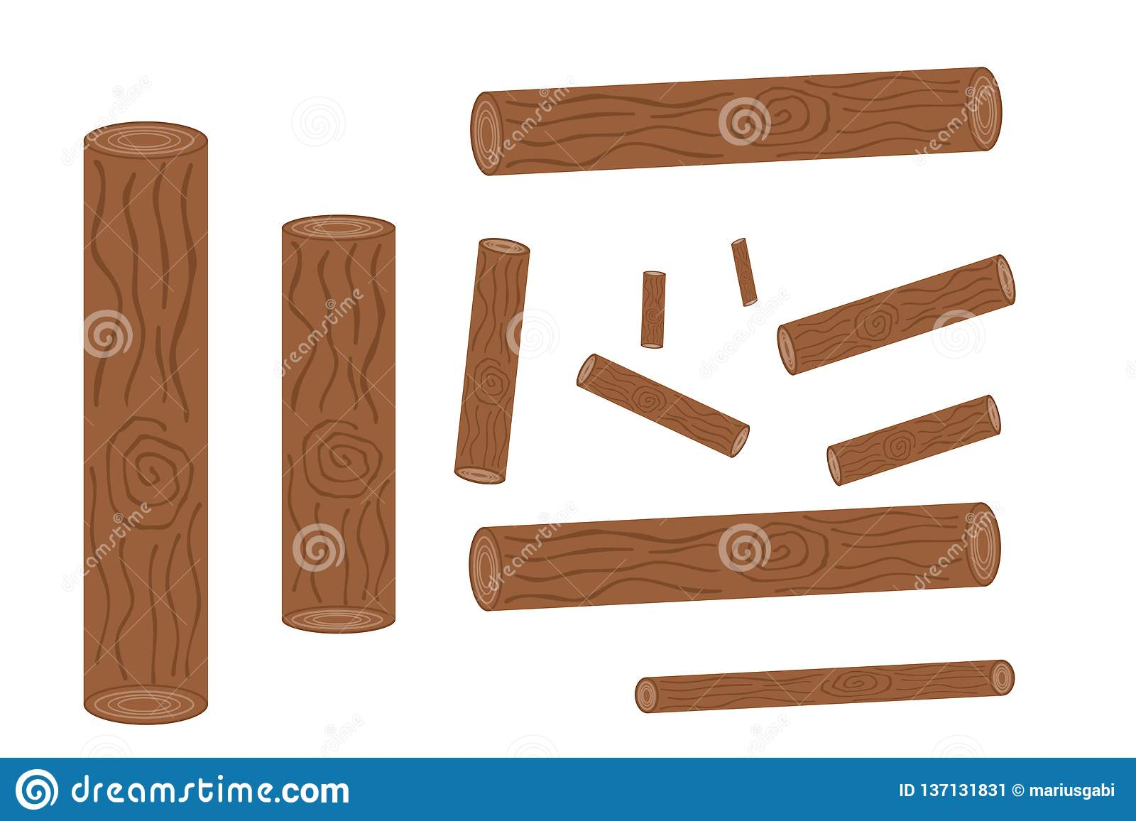 Set of logging, stumps and boards, woodpile and wood logs– stock illustration
