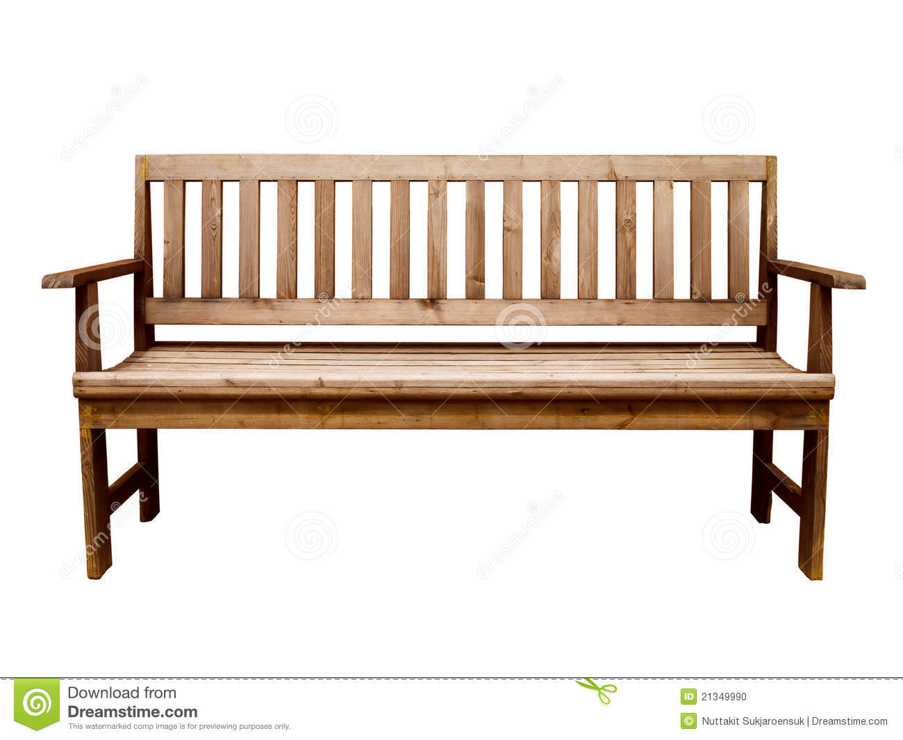 Wood Long Arms Chair Isolated Stock Photo - Image of empty ...