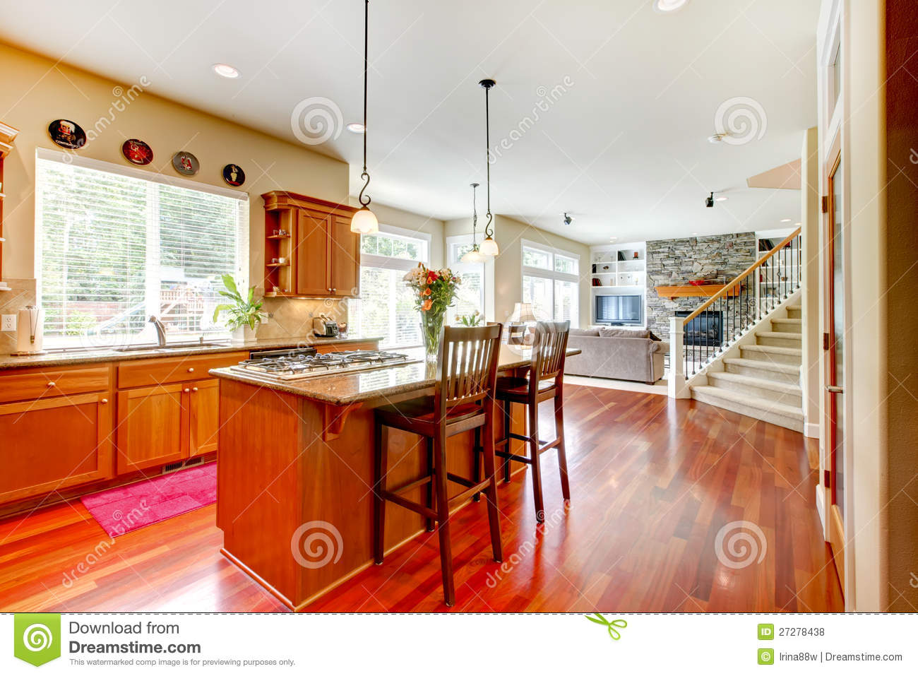 Wood luxury large kitchen living room royalty free stock photos image 27278438 - Luxury kitchen room ...