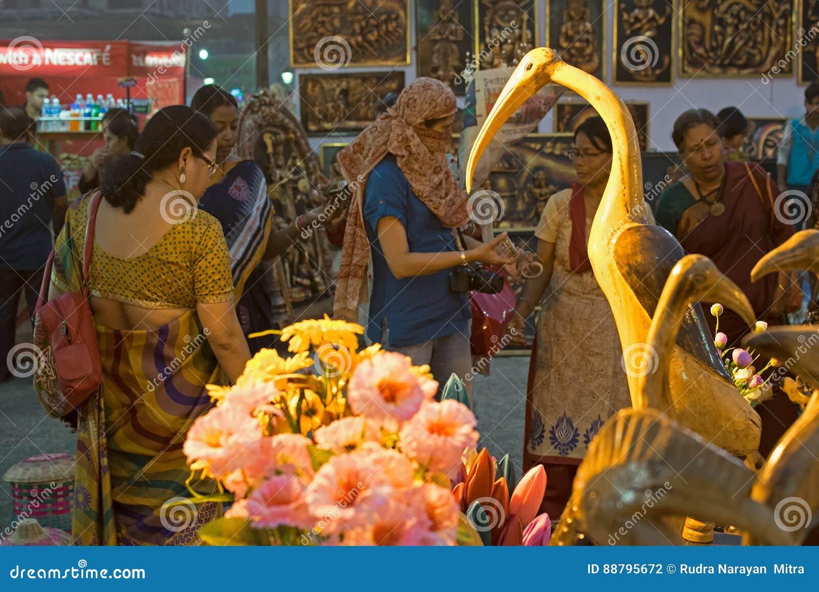 Wood Made Handicraft Items On Display Kolkata Editorial