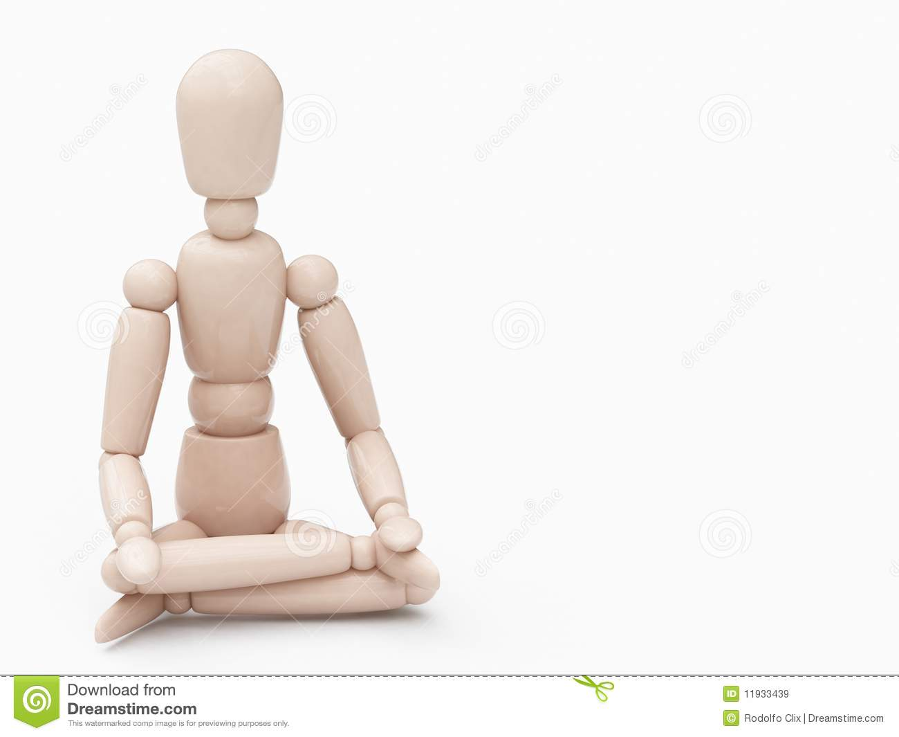 Wood Man In Lotus Position Royalty Free Stock Images