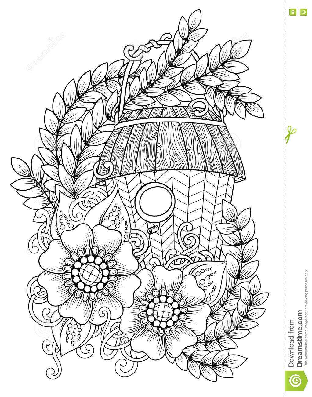 wood nesting box  pattern for coloring book  tattoo