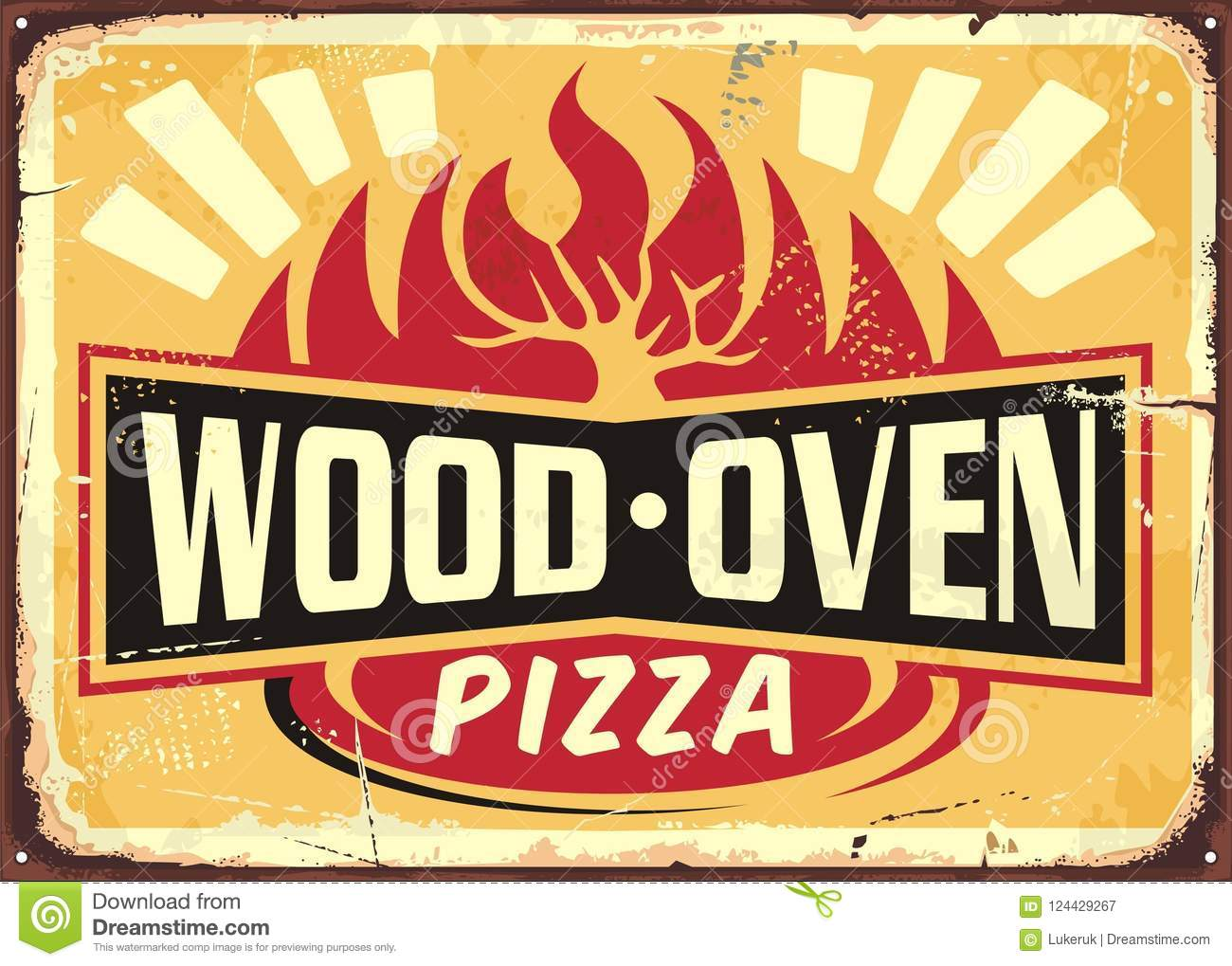 Wood Oven Fired Pizza Vintage Metal Sign Stock Vector