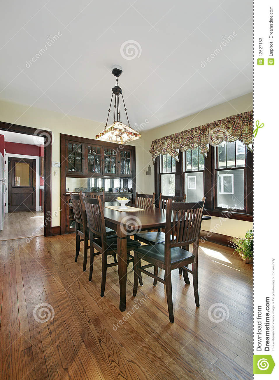 wood paneled dining room stock photos image 12627153