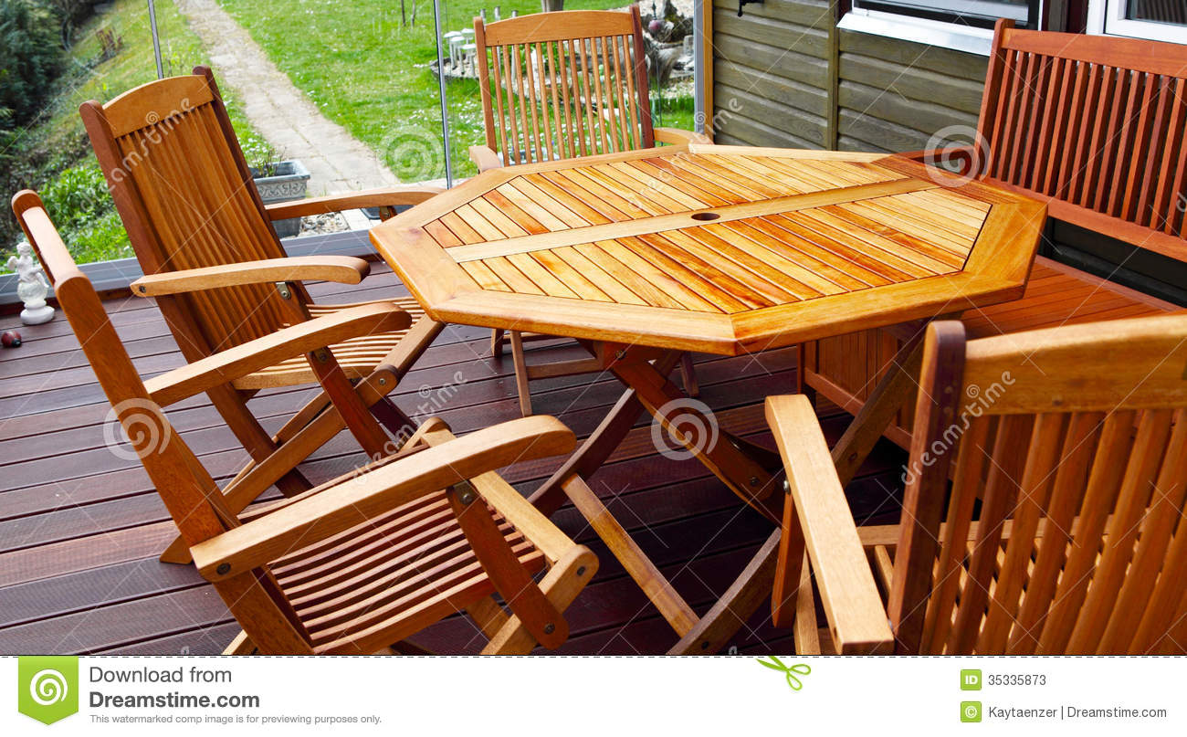 Wood patio furniture & Wood patio furniture stock image. Image of garden glass - 35335873