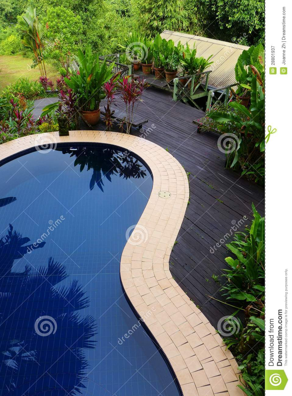 Royalty Free Stock Photography: Wood patio & pool layout with ...