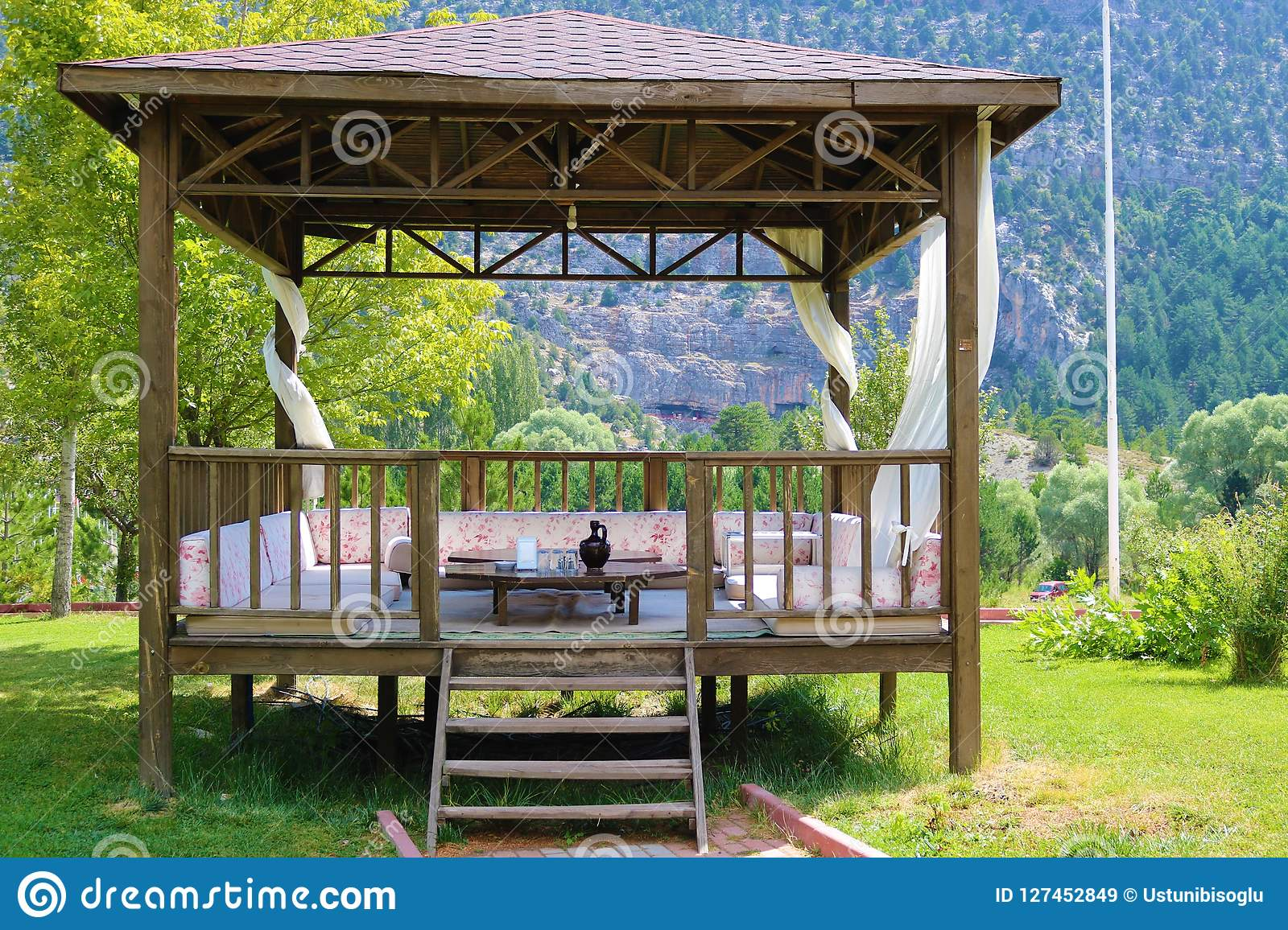 Incredible Wood Pavillon Wood Pergola And Forest Stock Image Image Forskolin Free Trial Chair Design Images Forskolin Free Trialorg