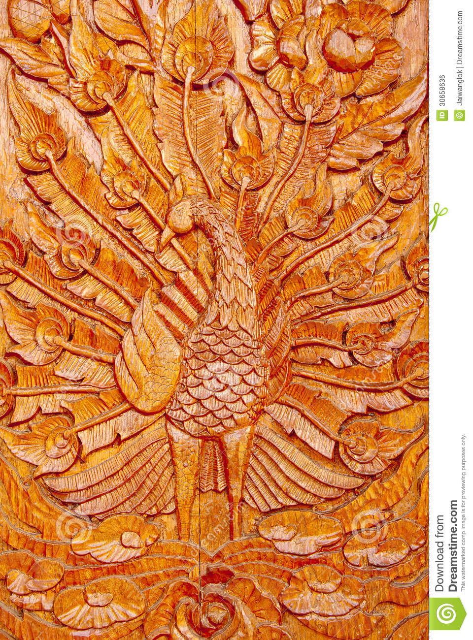 Wood Peacock Carving Royalty Free Stock Image - Image: 30658636