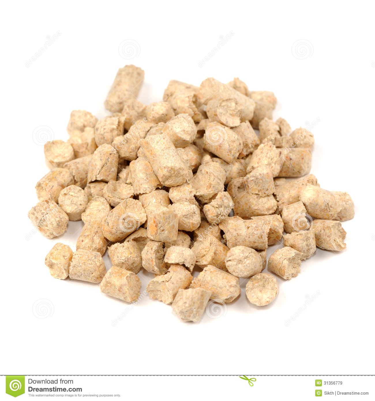 Nature S Earth Pellets ~ Wood pellet pine cat litter isolated on white ba stock