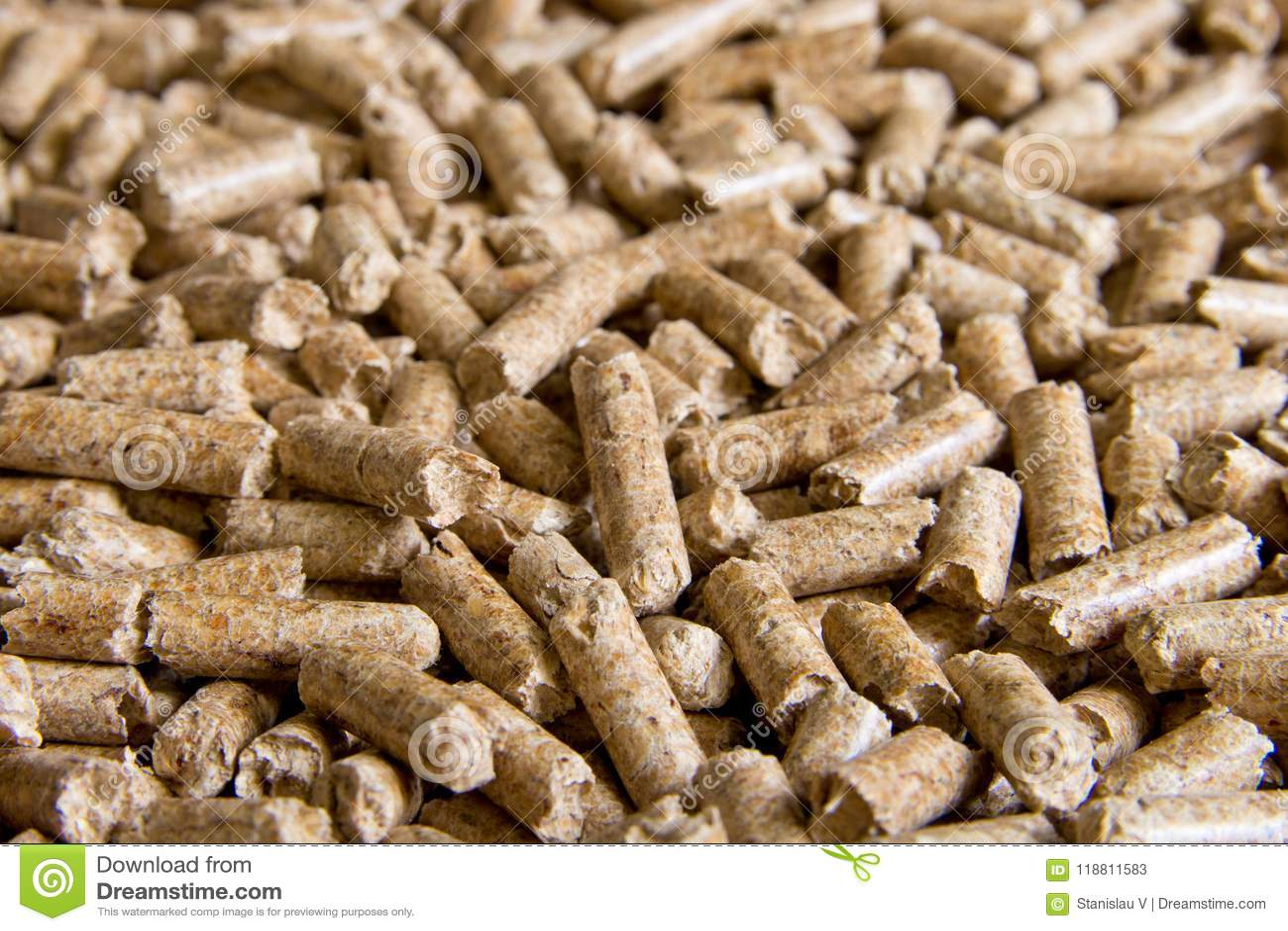 Wood pellets close up .Biofuels. Biomass Pellets - cheap energy.