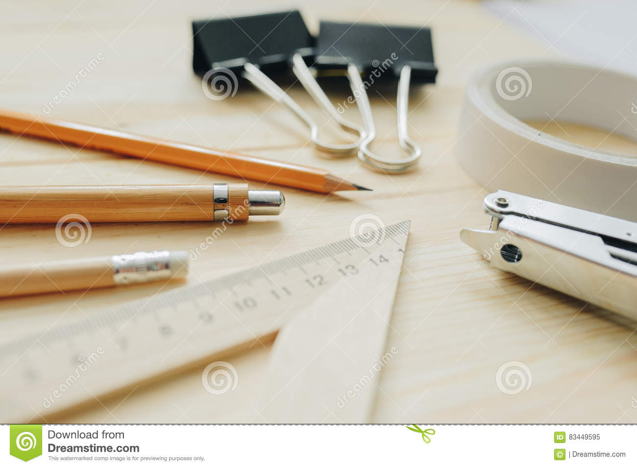 Wood Pencil, Pen, Triangle, Briefpapier Clips, Hefter On The Desk In ...