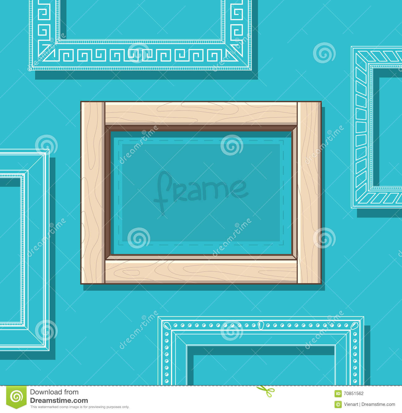Wood frames set free vector - Royalty Free Vector Beige Blue Flat Frame Painting Photo Picture Set