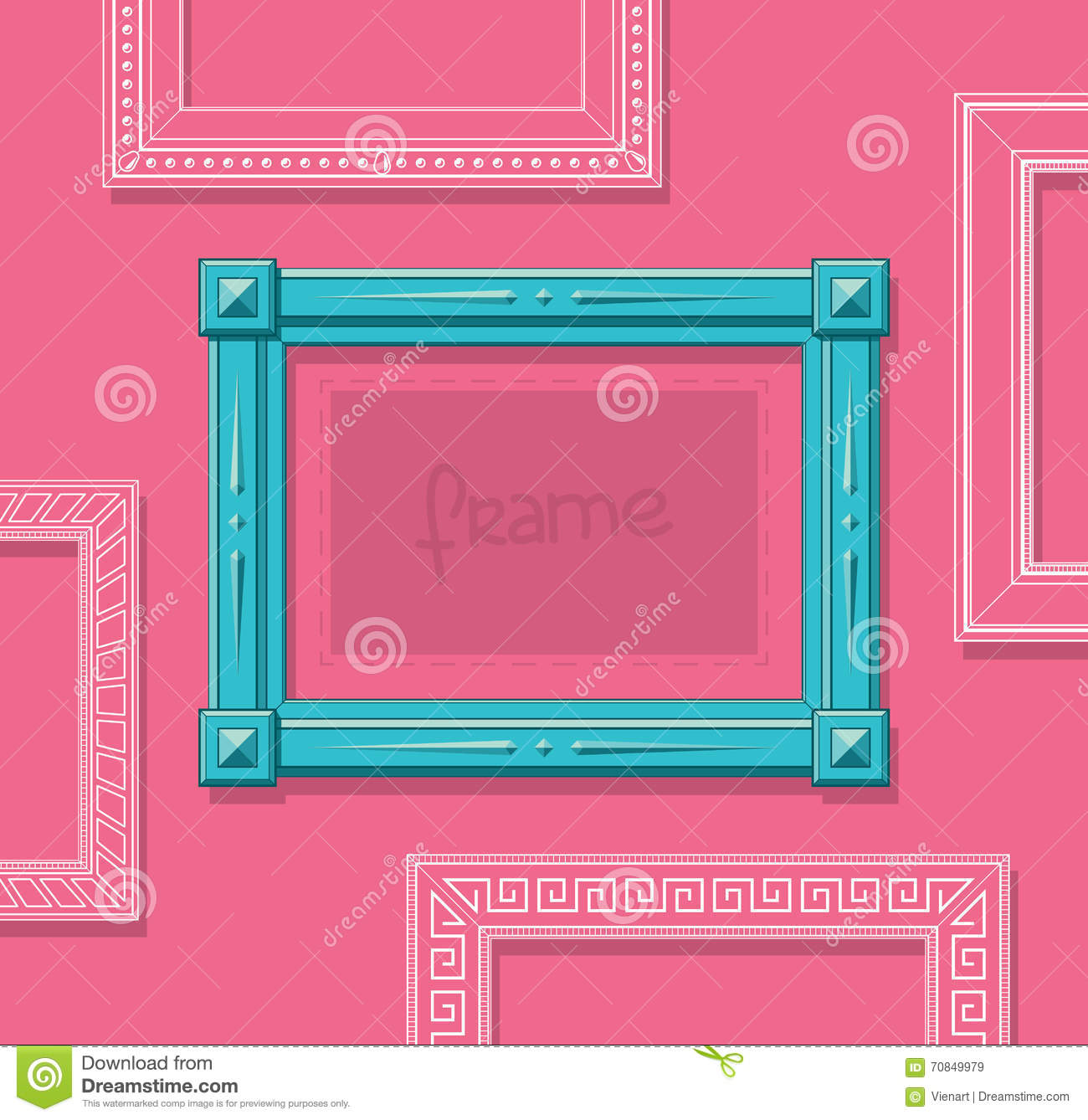Wood frames set free vector - Royalty Free Vector Blue Flat Frame Painting Photo Picture Pink Set