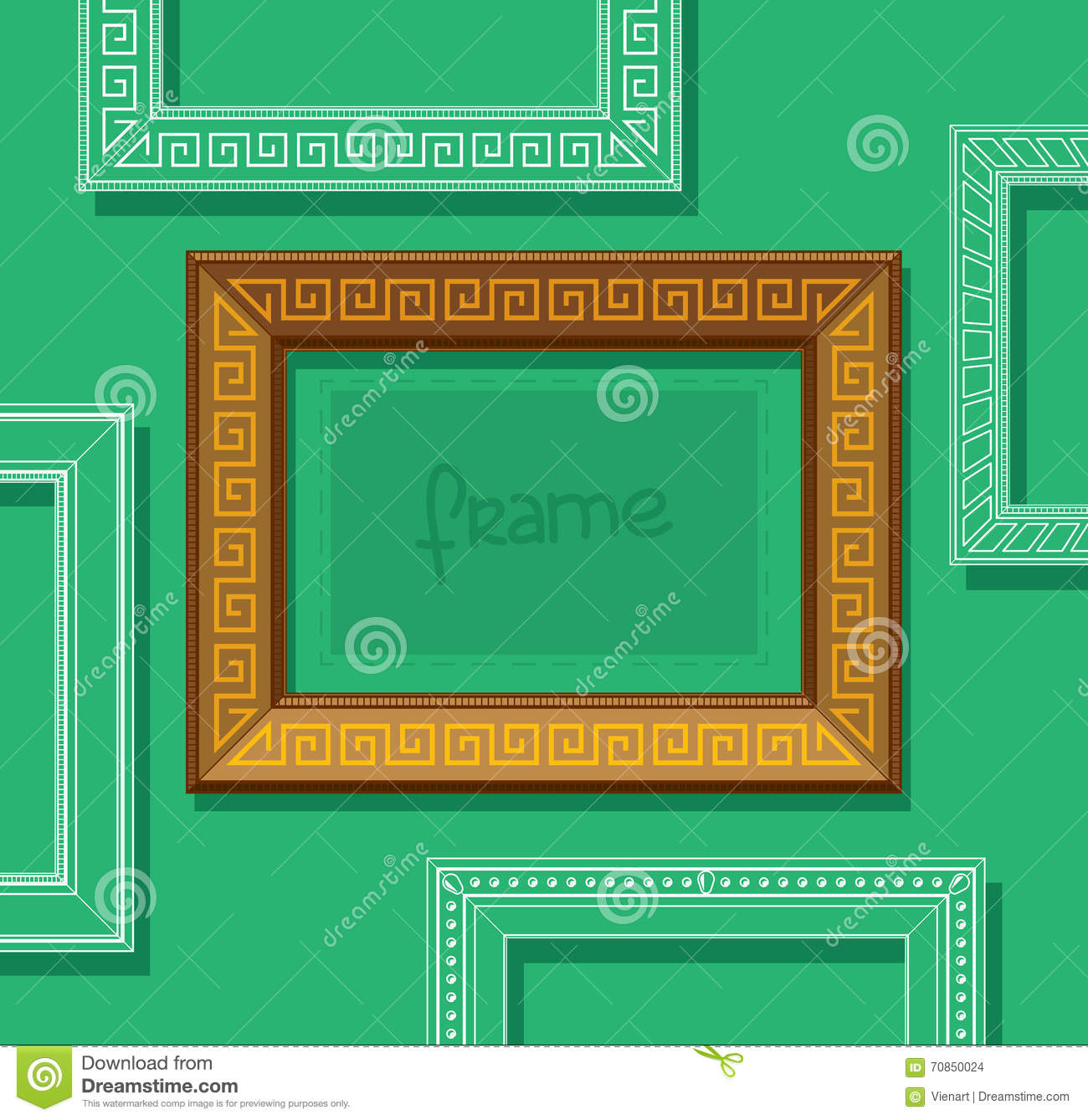 Wood frames set free vector - Wood Picture Frame Flat Vector Stylish Gold Photo Frame On Green Wall Painting Frame