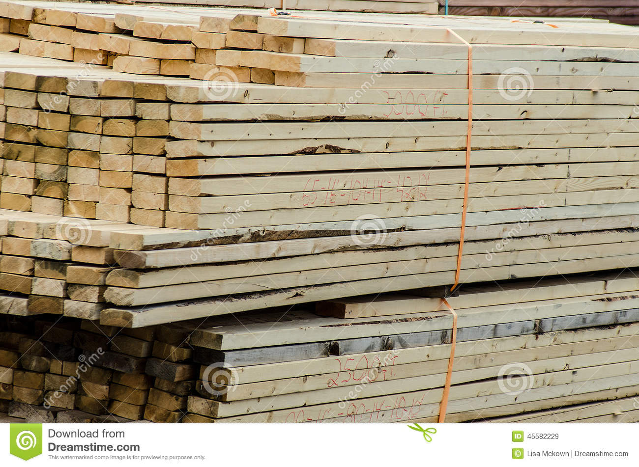 Wood piles for construction shipped stock image