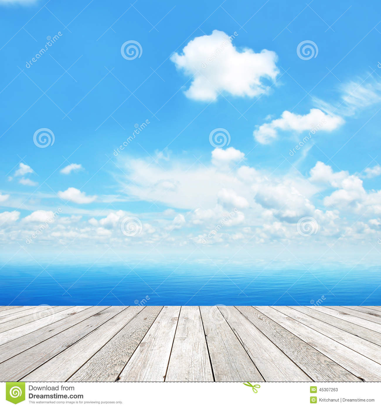 Wood Floor On Beach Sea And Blue Sky For Background Stock: Wood Deck On Blue Sea Royalty-Free Stock Photo