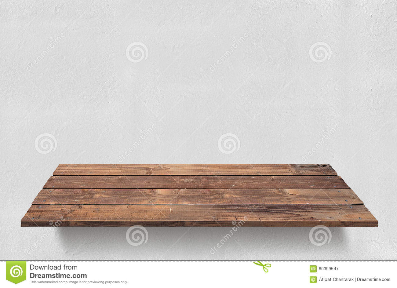 Wood Plank Table With White Concrete Wall Background Stock Photo