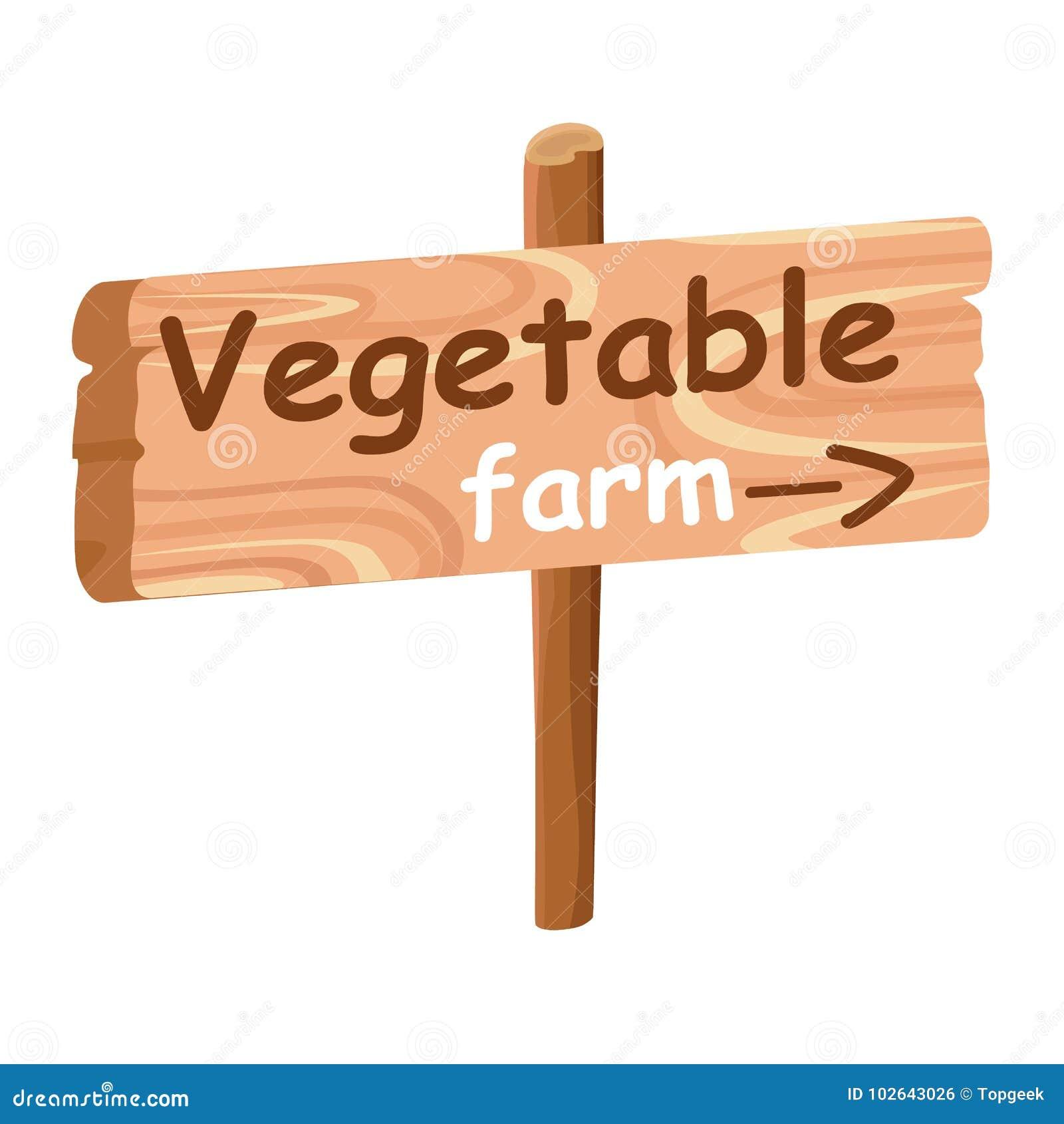 Wood platta med riktningsindexet till grönsaklantgården