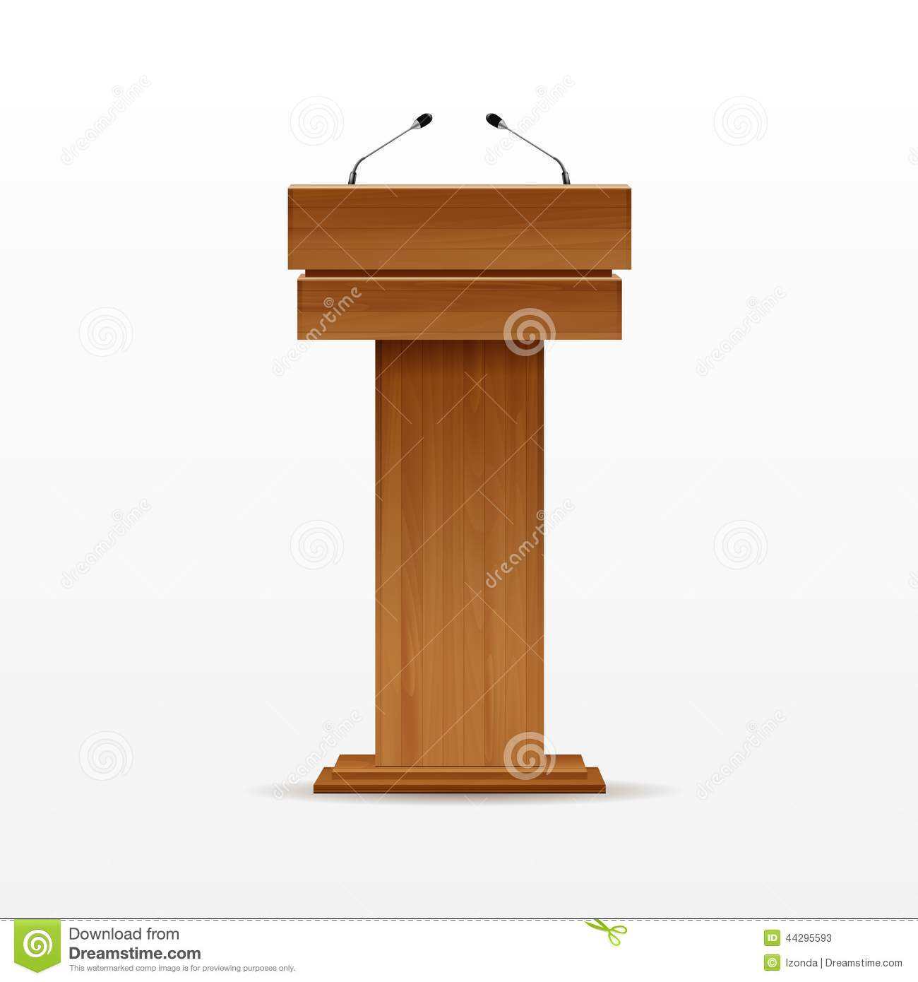 wood podium tribune rostrum stand with microphone stock vector image 44295593. Black Bedroom Furniture Sets. Home Design Ideas