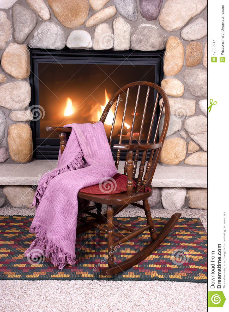 Wood Rocking Chair In Front Of Home Fireplace Stock Image