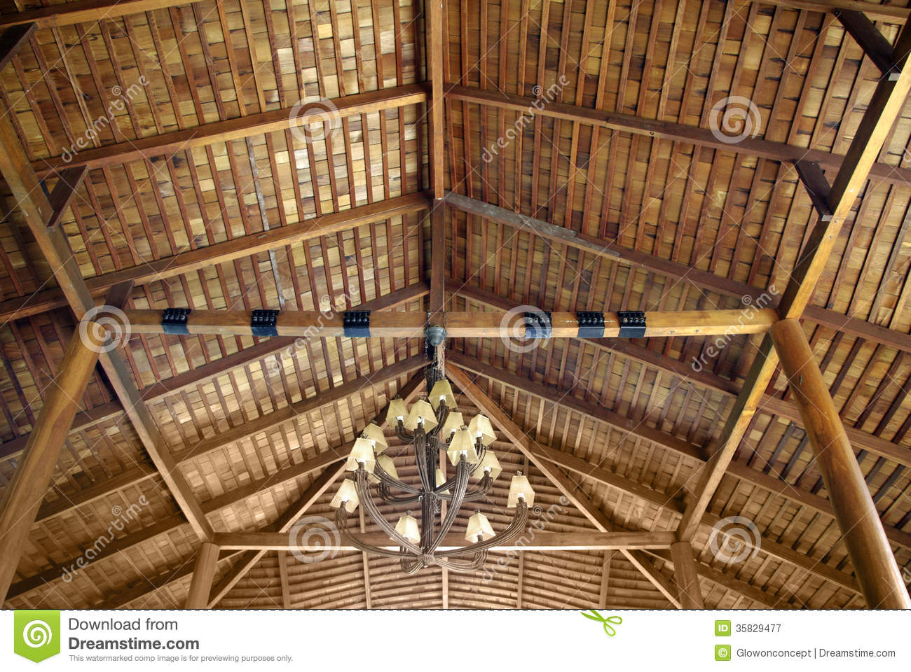 Wood Roof Ceiling Stock Image Image Of Resort Brown