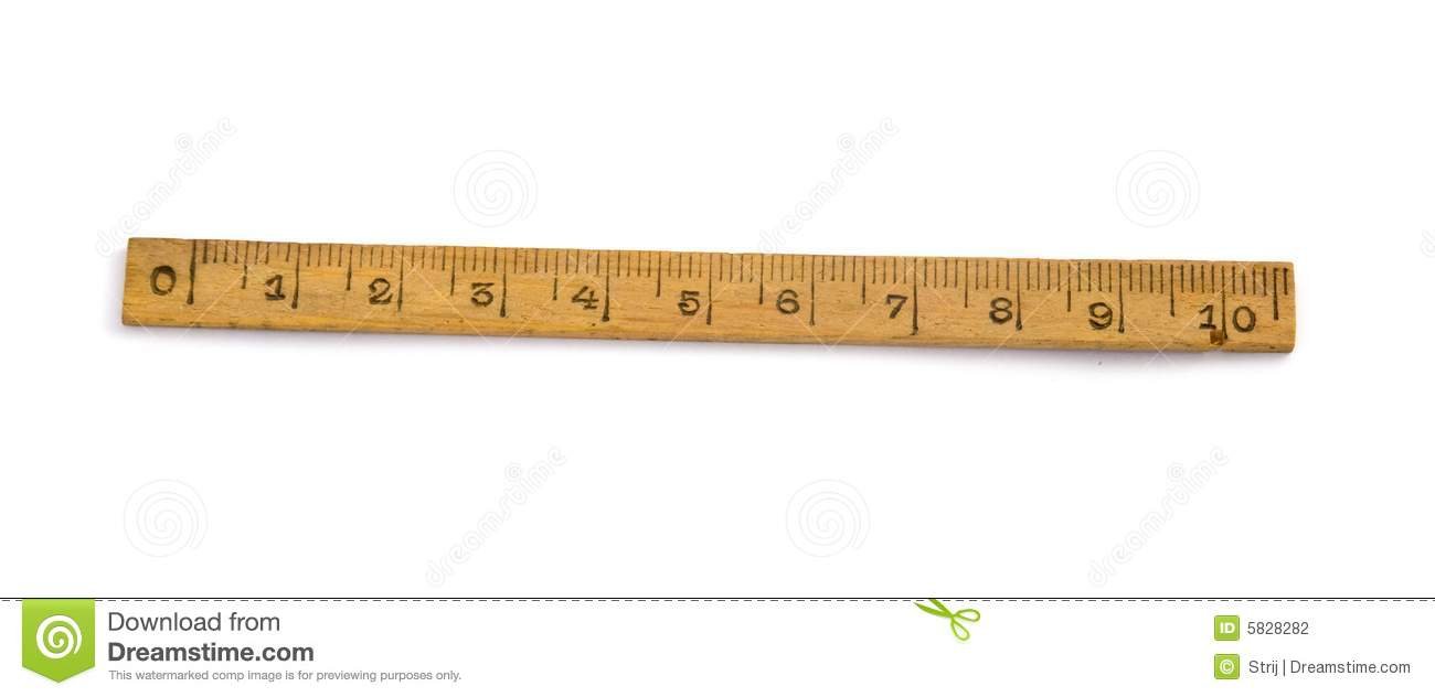 Old one wood ruler isolated on white background.