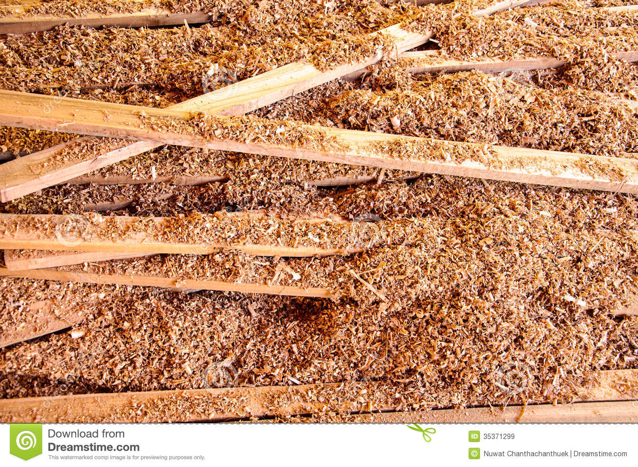 Wood and sawdust stock image of scattered build