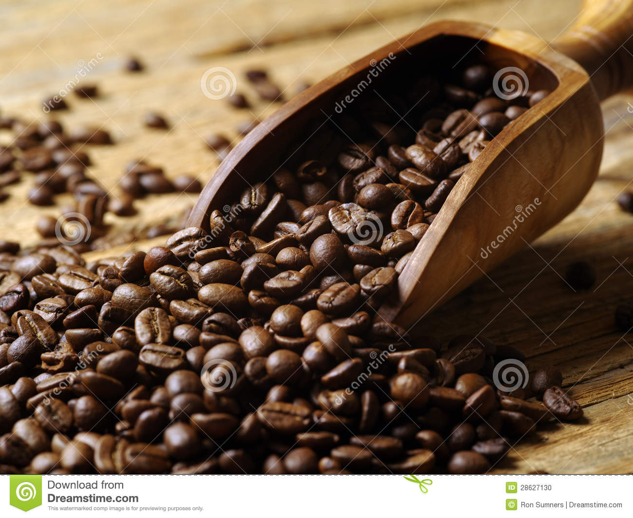 Wood Scoop And Coffee Beans Stock Photo Image 28627130