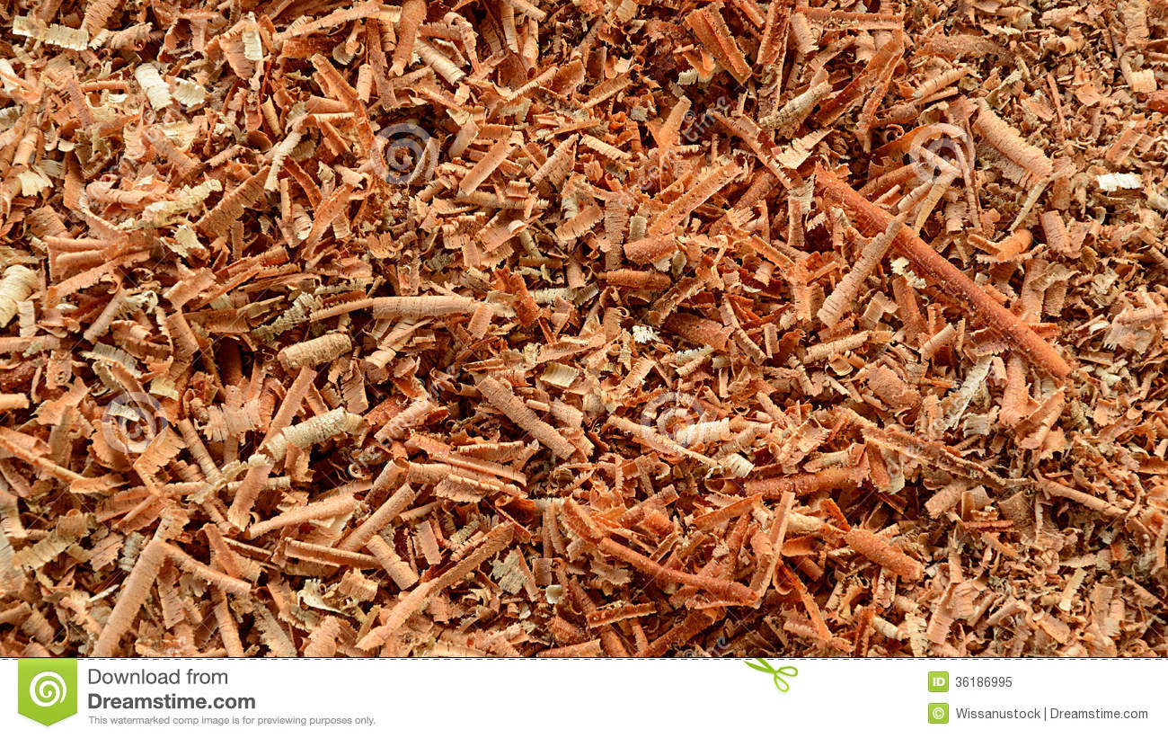 Wood shavings sawdust background stock image