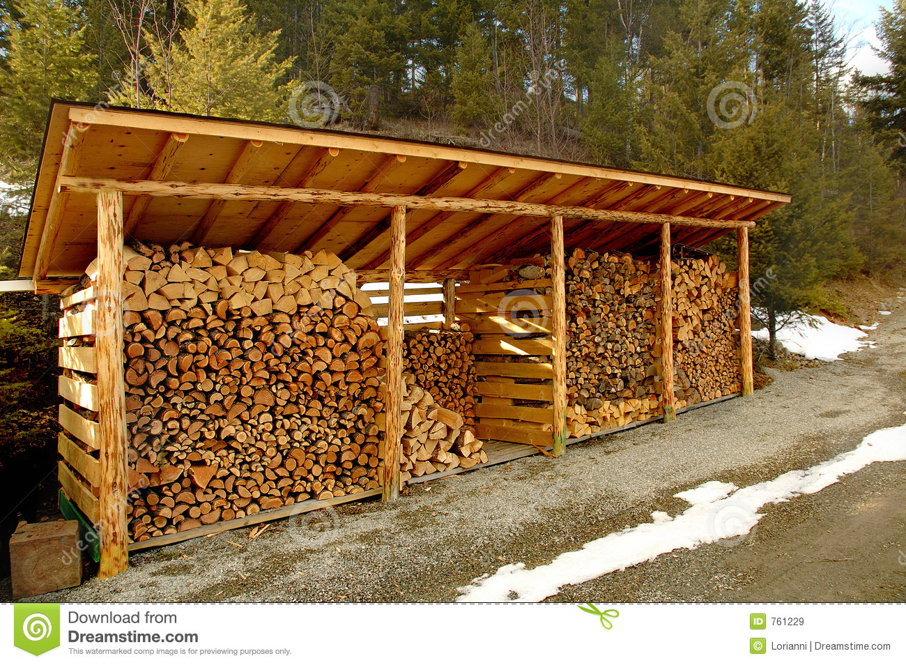 Wood shed outdoors