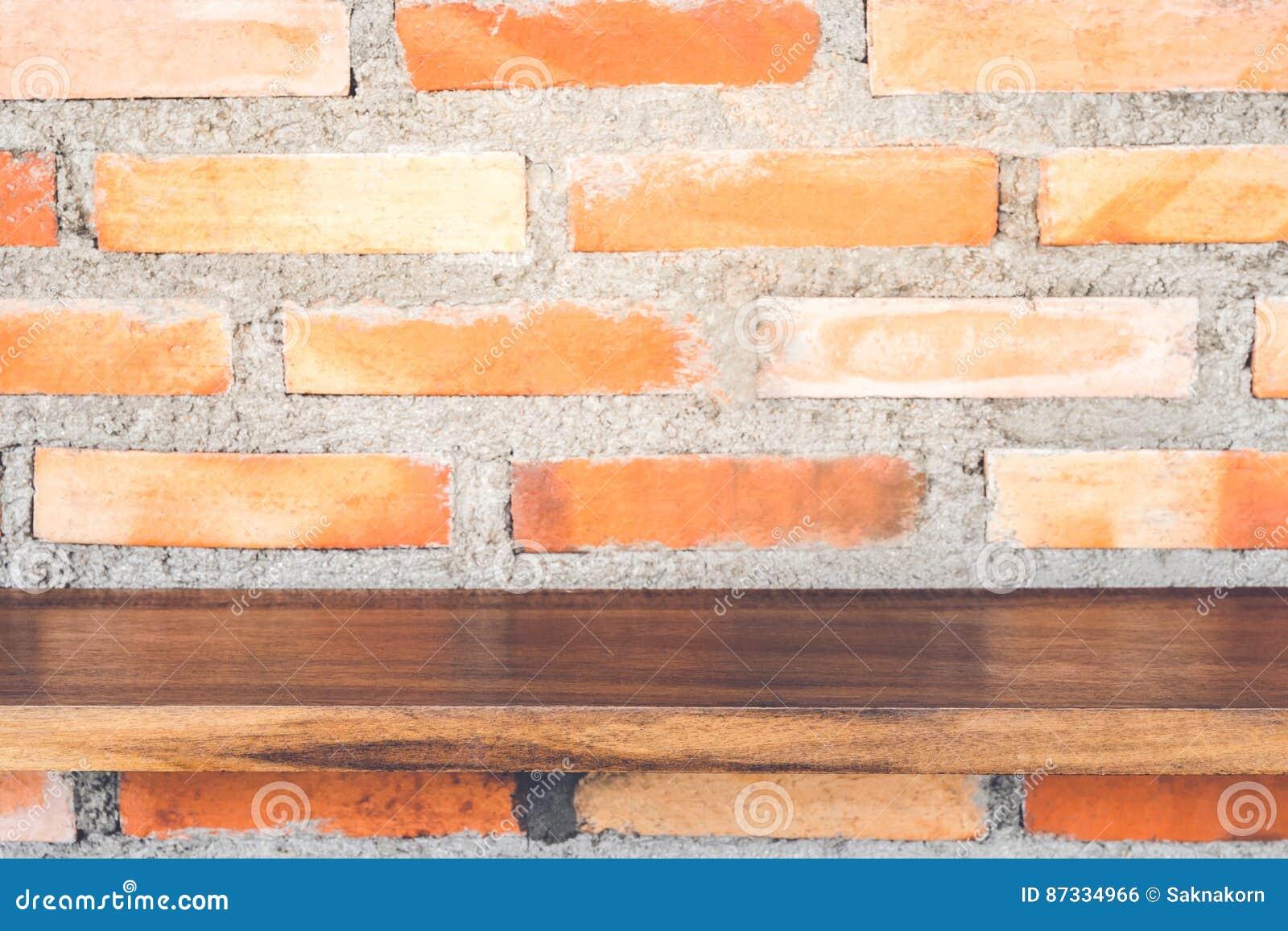 Empty Wood Shelf On Brick Wall Royalty Free Stock Photo