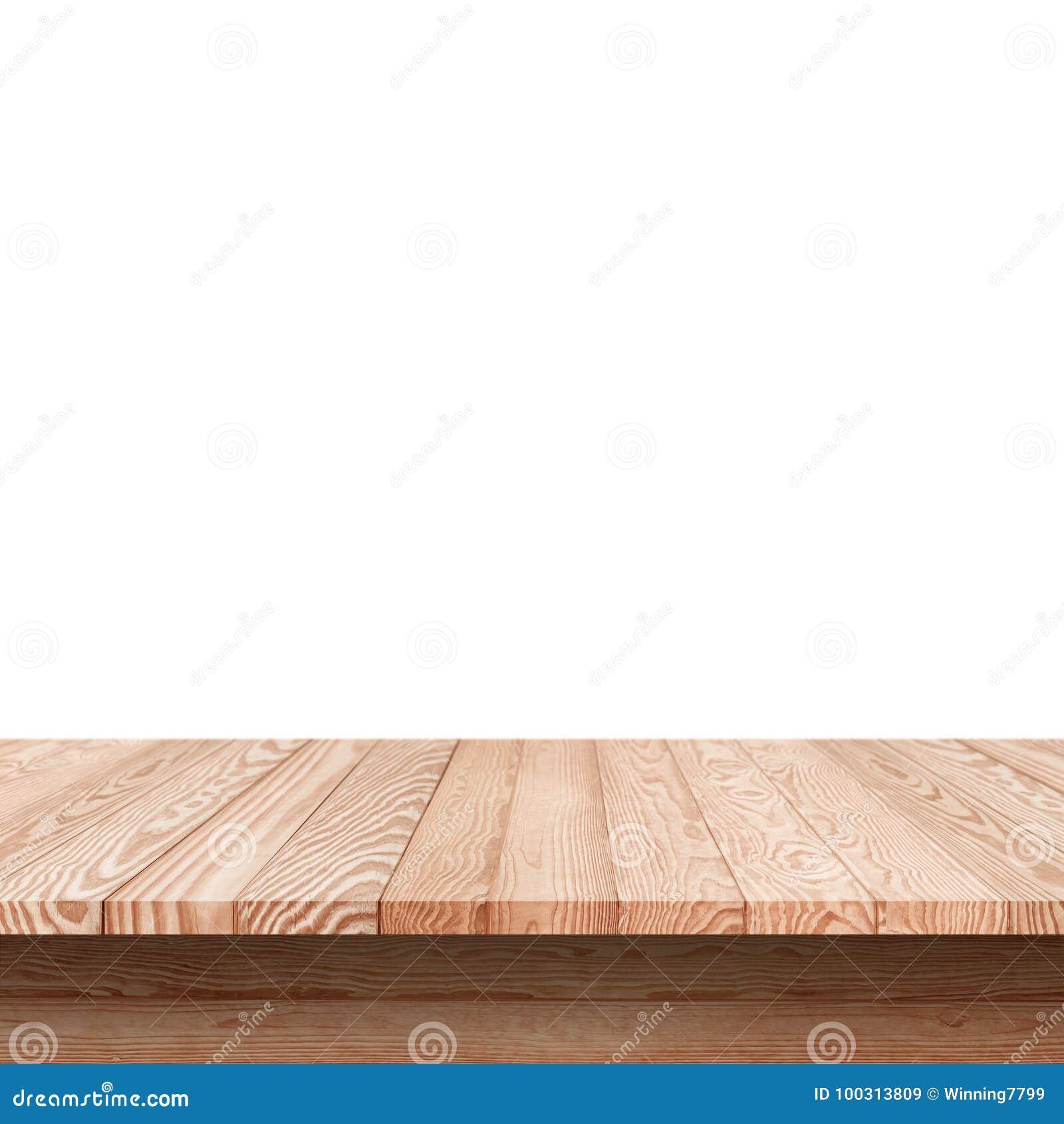 Wood shelf table isolated