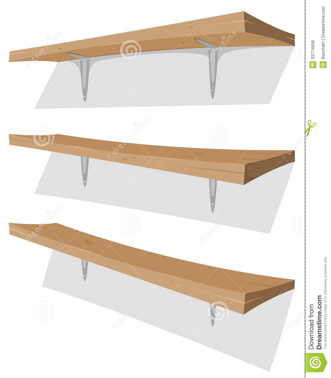 Illustration of cartoon garage wood storage shelves set on the wall ...