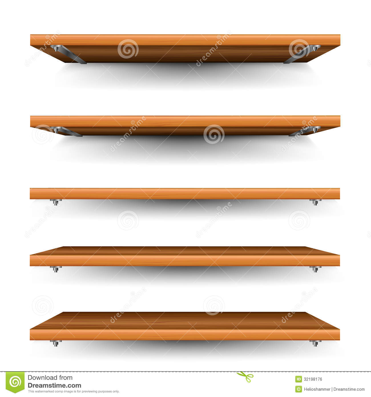 Wood Shelves Set Royalty Free Stock Image - Image: 32198176