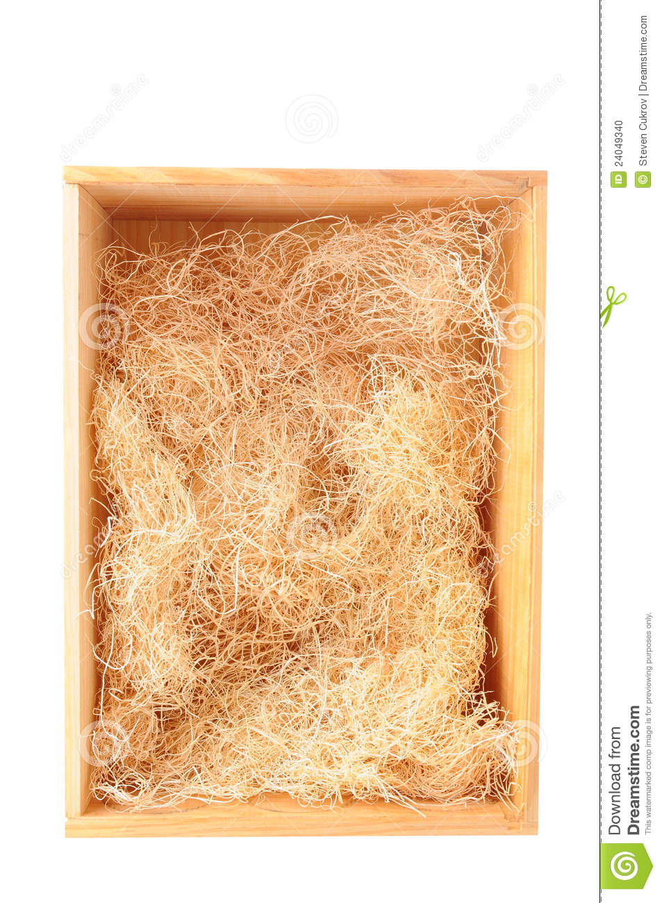Wood Shipping Box With Straw Stock Photo Image 24049340