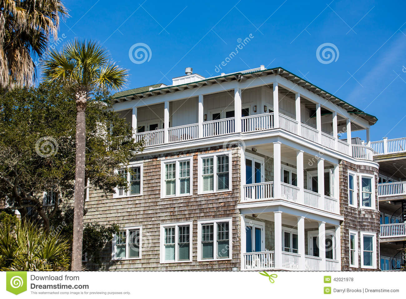 Wood Siding Beach House Balconies