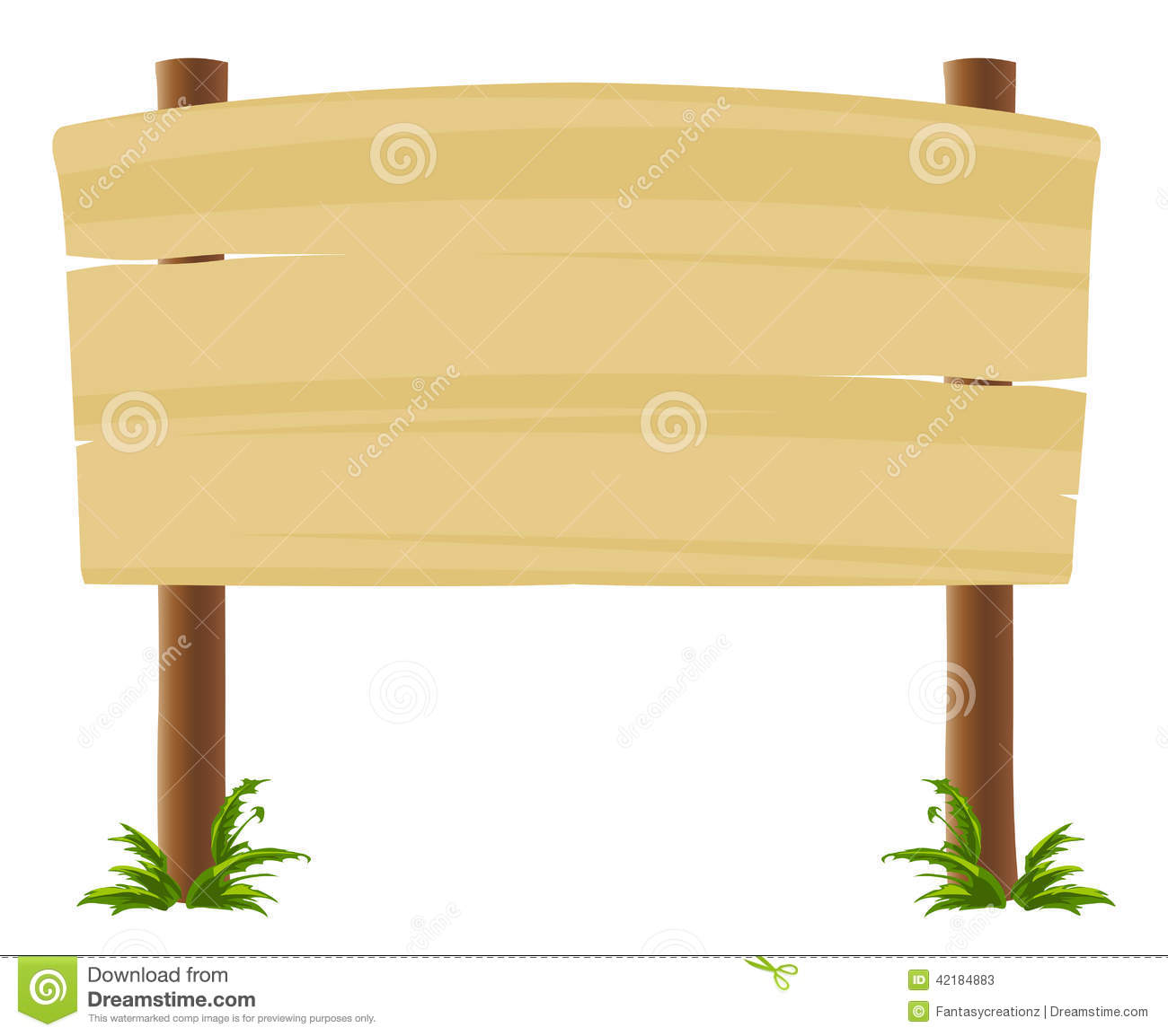 wood sign board stock vector image of information fence