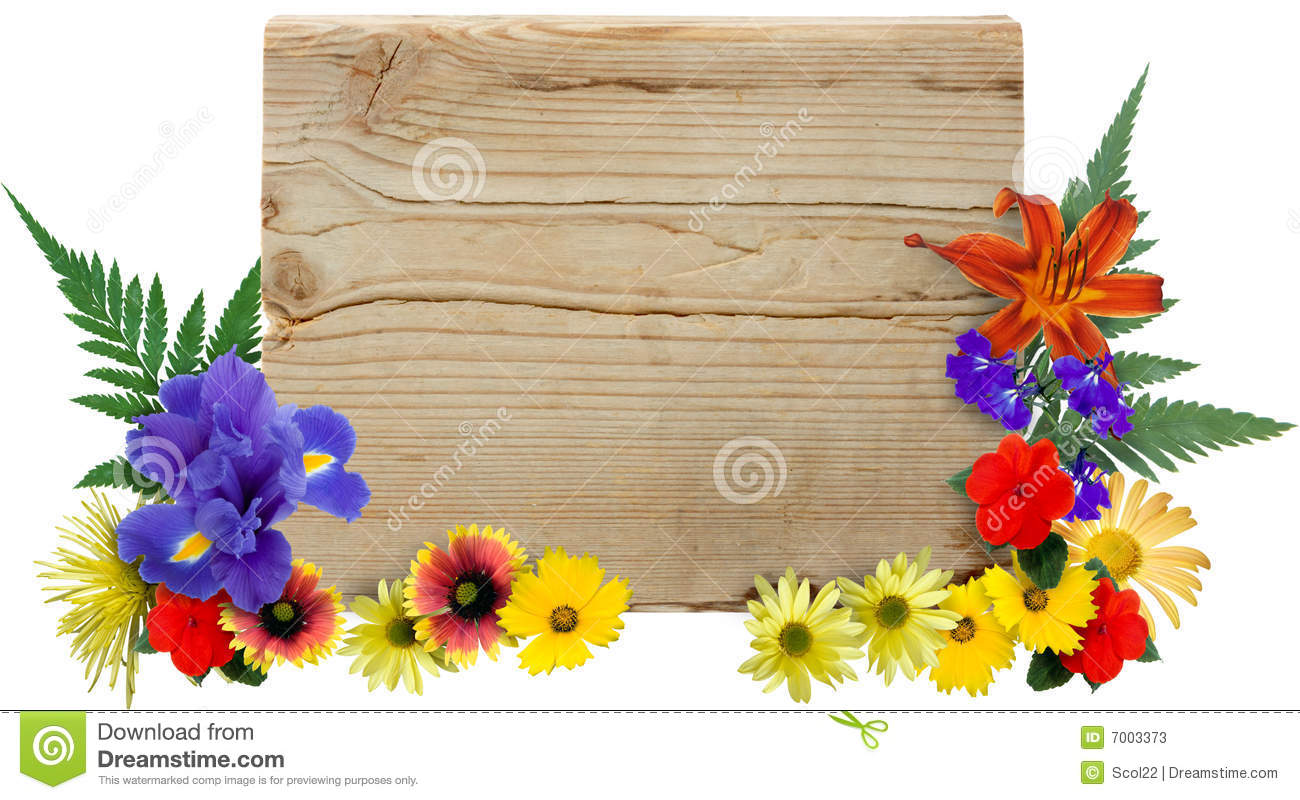 Wood Sign Amp Flowers Stock Photos Image 7003373